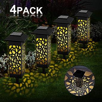 Vegena 4 piezas Lámpara Solar LED para el Jardín, IP55 Resistente al agua, Lámpara Solar Decorativa para Exteriores, Terraza, Patio trasero, Carretera, Caminos, Césped: Amazon.es: Iluminación