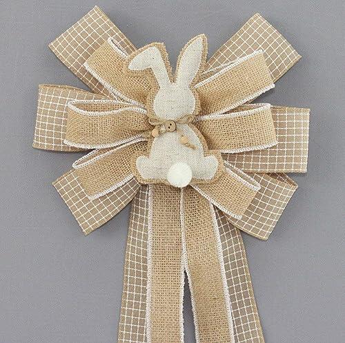 Rustic Bunny Burlap Easter Wreath Bow