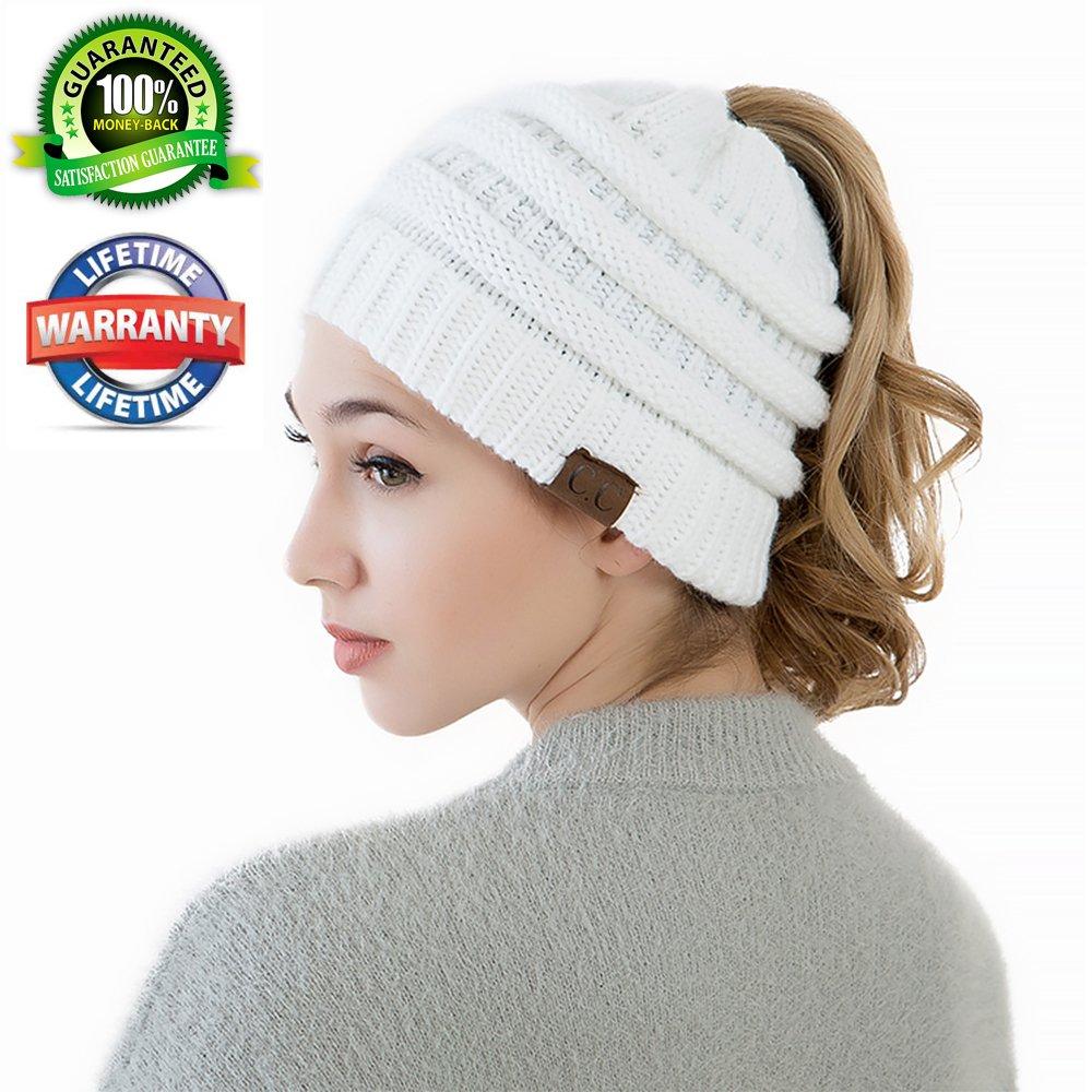 ポニーテールニット帽beanietailの女性ソフトストレッチケーブルニットMessy Hair Bunビーニー帽子リブ編みキャップ  ホワイト B0791D4CDC