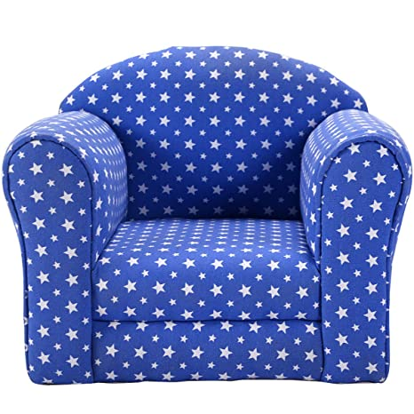 Costzon Kids Sofa Armrest Chair Couch Children Living Room Toddler  Furniture (Star, Blue)