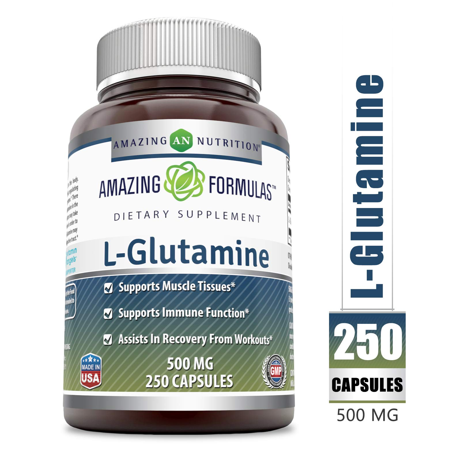 Amazing Formulas - L-Glutamine Dietary Supplement - 500 Milligrams - 250 Capsules (Non-GMO) - Promotes a Healthy Immune System - Supports Muscular System* by Amazing Nutrition