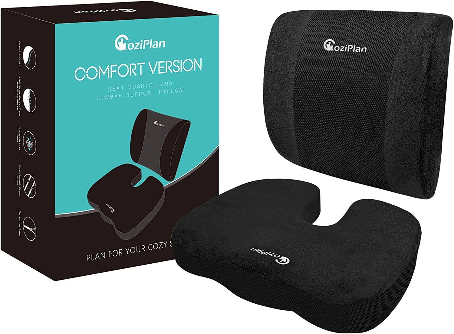 CoziPlan Seat Cushion and Lumbar Support Pillow - Comfort Version, Memory Foam Coccyx Cushion and Back Cushion for Office Chair