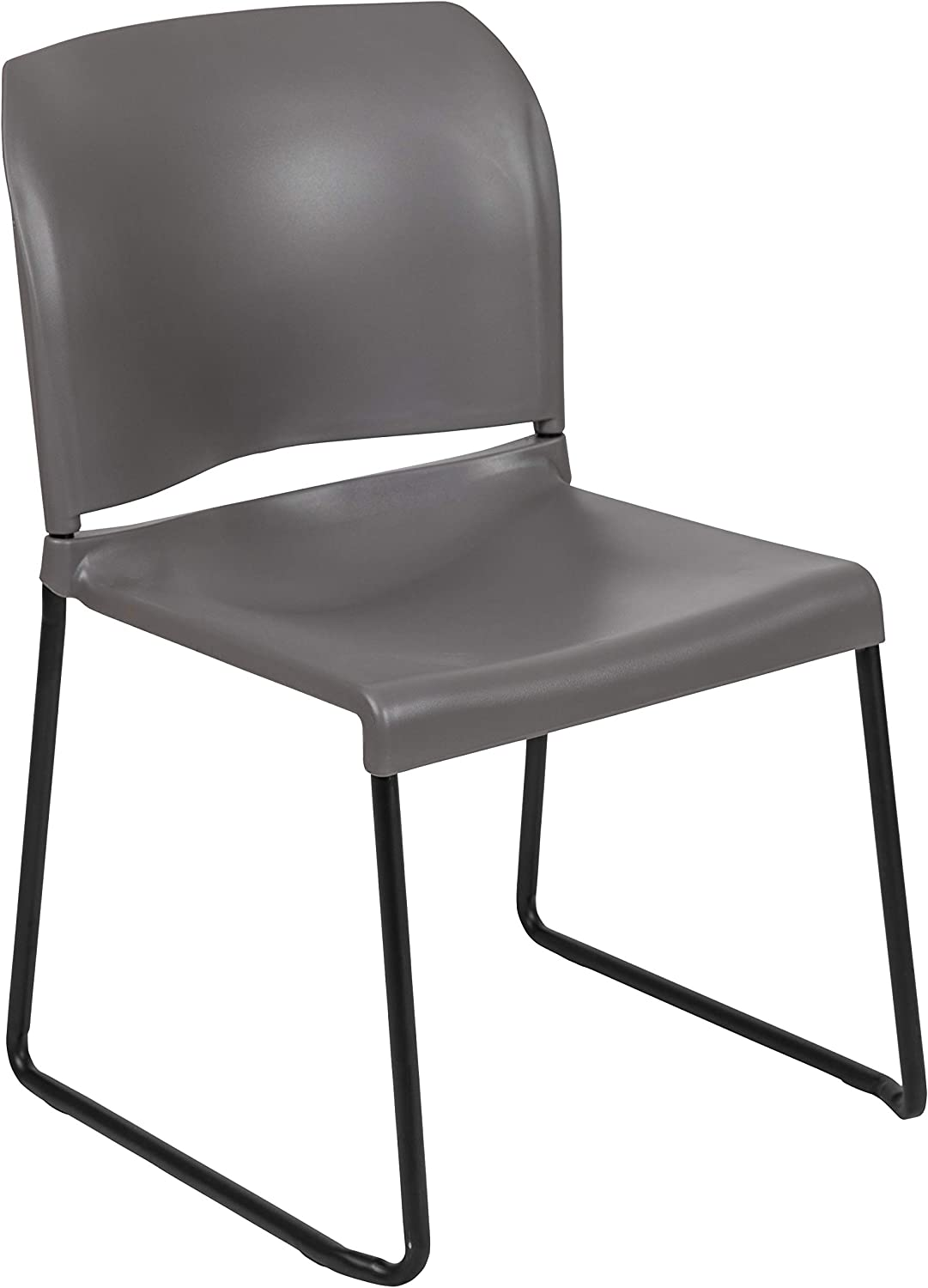 Flash Furniture HERCULES Series 880 lb. Capacity Gray Full Back Contoured Stack Chair with Black Powder Coated Sled Base