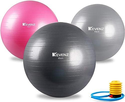 KEVENZ Exercise Ball 55-65cm ,Extra Thick Yoga Ball,Professional Grade Anti-Burst Fitness,Balance Ball