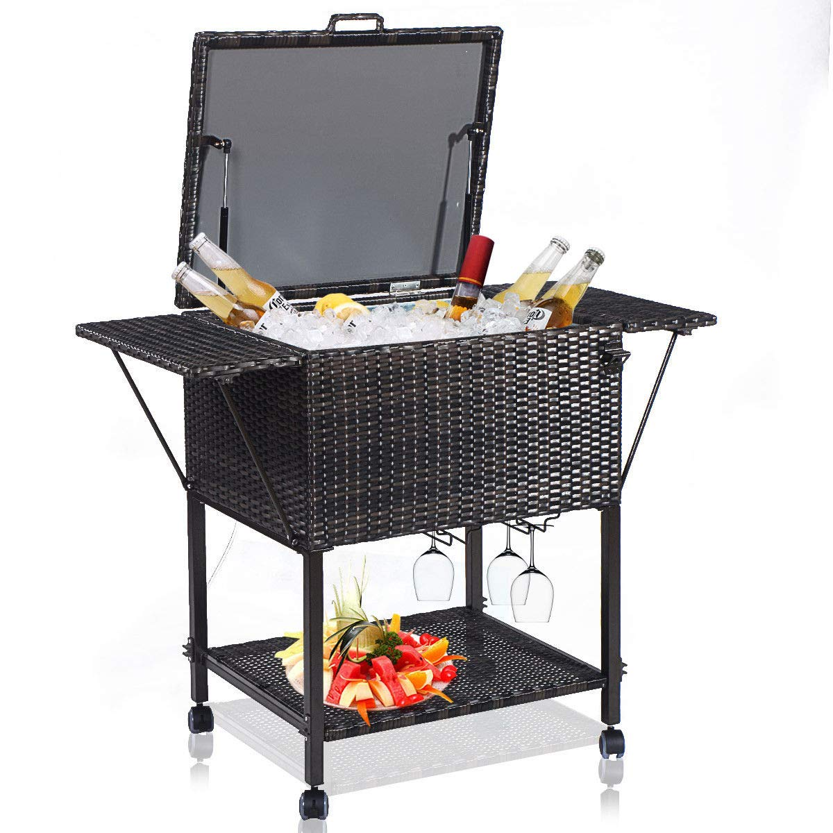 Giantex HW51578 108 Quart Rattan Cart Portable Wicker Cooler Trolley, Mix Brown by Giantex