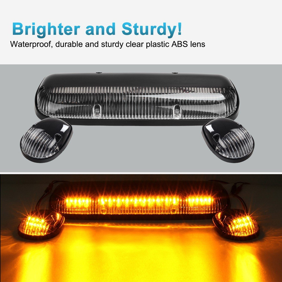 Partsam 3PCS Clear Cover Amber 30 LED Cab Roof Top Marker Lights Replacement for 2002 2003 2004 2005 2006 2007 Chevrolet Silverado GMC Sierra 1500 1500HD 2500 2500HD 3500 Pickup Trucks