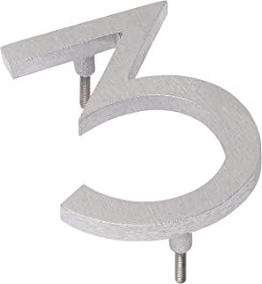 "product image for Montague Metal Products MHN-06-3-F-BA1 Solid Modern Floating Address House Numbers, 6"", Polished Brushed Aluminum"