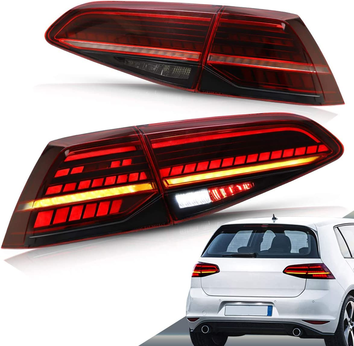 VLAND LED Tail Lights For 2013-2019 golf 7 golf mk7 mk7.5 Rear Lights with Sequential indicator UK STOCK (Red lens)