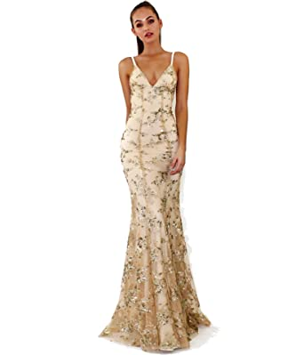 276f49193d Image Unavailable. Image not available for. Color  AIDEAR 1920s Prom Dresses  with Deep V Neck Sequins Backless Sexy Split Sleeveless Evening Maxi Dresses