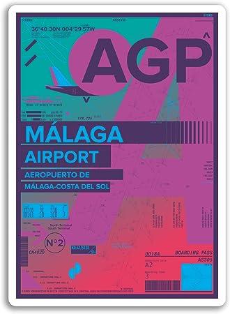 2 x 10cm aeropuerto de Málaga - España pegatinas de vinilo AGP etiqueta de equipaje portátil # 17169 (10 cm de altura): Amazon.es: Hogar