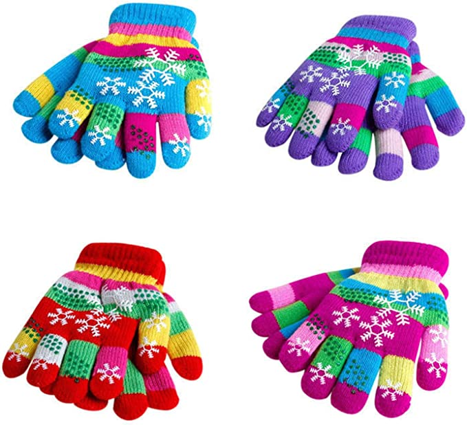 QKURT 6Pairs of Magic Gloves,Winter Knitted Full Finger Stretch Gloves Warm Gloves for 5~13 Year Old Kids Girls Boys