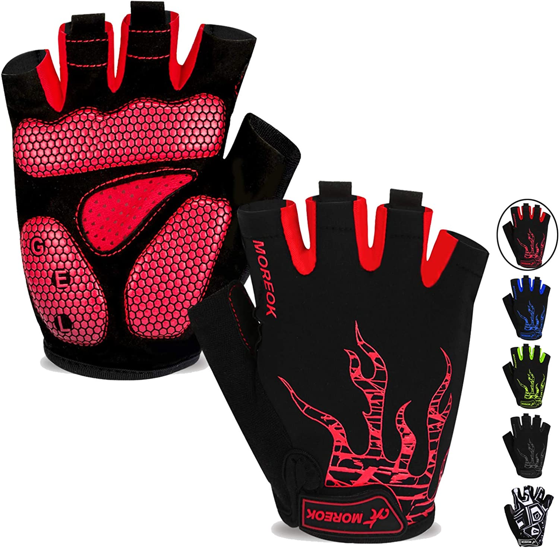 MOREOK Mens Cycling Gloves, Half Finger Biking Glove MTB DH Road Bicycle Gloves Gel Pad Shock-Absorbing Anti-Slip Breathable Motorcycle Mountain Bike Gloves Unisex Women : Clothing