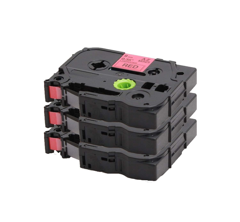 3x Ruban pour Etiqueteuse Compatible remplace Brother TZe-421 / TZ-421 | noir sur rouge / 9mm x 8m | pour Brother P-Touch 1000 1010 1090 1830VP 2030VP 2100VP 2430PC 2470 2730VP 7100VP 7600VP H100 H300 D200 and other P-Touch LabelWriter COEmedia