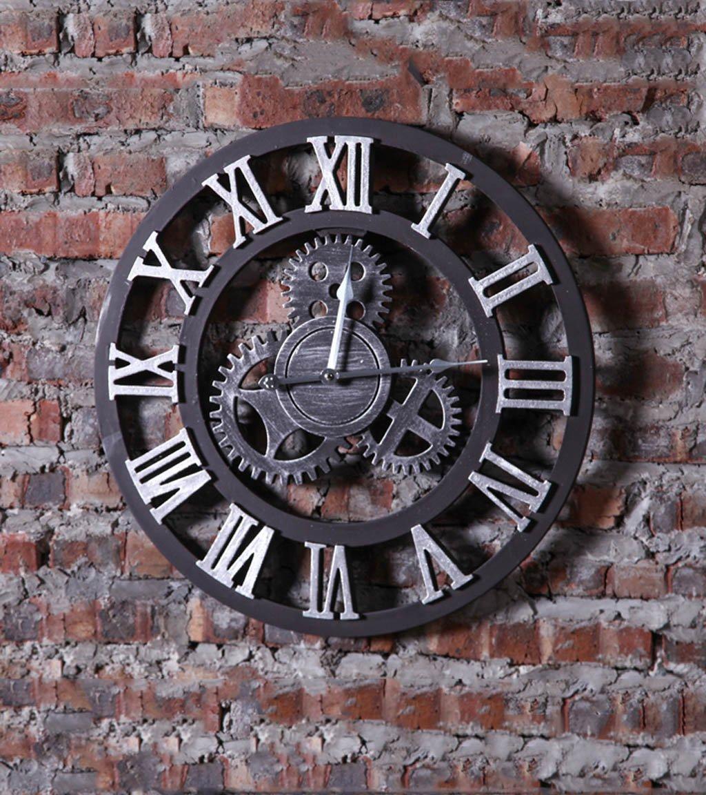 HAIBUHA Wanduhren Industrie Retro Style-Zahnrad-Taktgeber, Wand-Taktgeber-kreative Wand hängende Dekoration, (bar Wanduhr) Ultra Silent Home Dekorative Wandmontierte Uhr (Farbe   B1, größe   49.5cm)