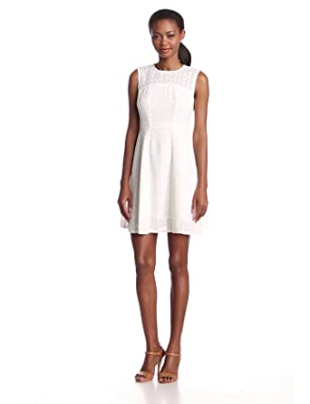Nanette Lepore Women's Fool For Love Lace Sleeveless Fit and Flare Dress, White, 2
