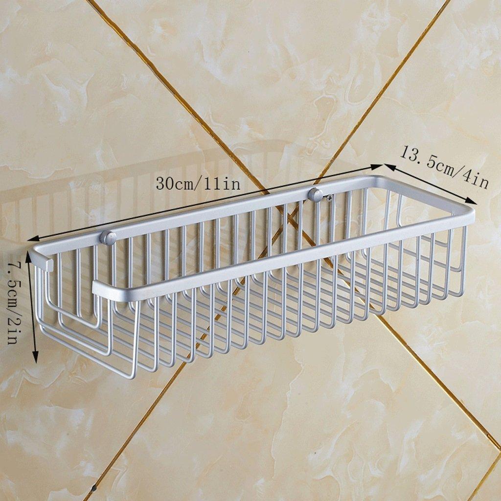 YXN Space Aluminum Bathroom Single-layer Bracket Square Metal Basket Bathroom Corner Bracket Heightening Deepen Wall Mount Basket (Size : 30cm)