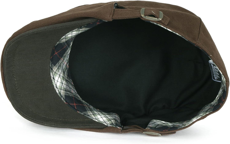 ililily Zwei Ton Baumwolle angepasst Gatsby Schieber Hut Cabbie Chauffeurhut Golferm/ütze flach Cap