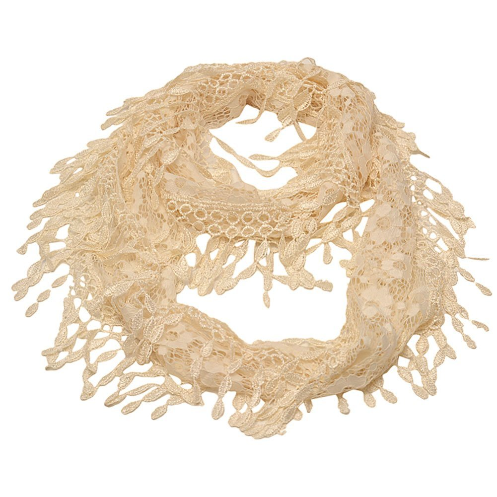 Girls Ivory Solid Color Lace Edges Crochet Leafy Accents Circular Scarf by Sophia's (Image #1)