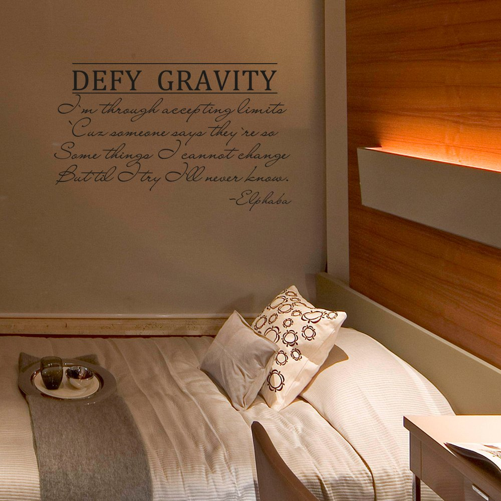 Amazon com defy gravity vinyl wall decal inspirational quote elphaba saying wall letters wall words wall graphic home art decoration black home kitchen