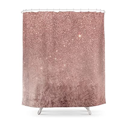 Society6 Girly Glam Pink Rose Gold Foil And Glitter Mesh Shower Curtain 71quot