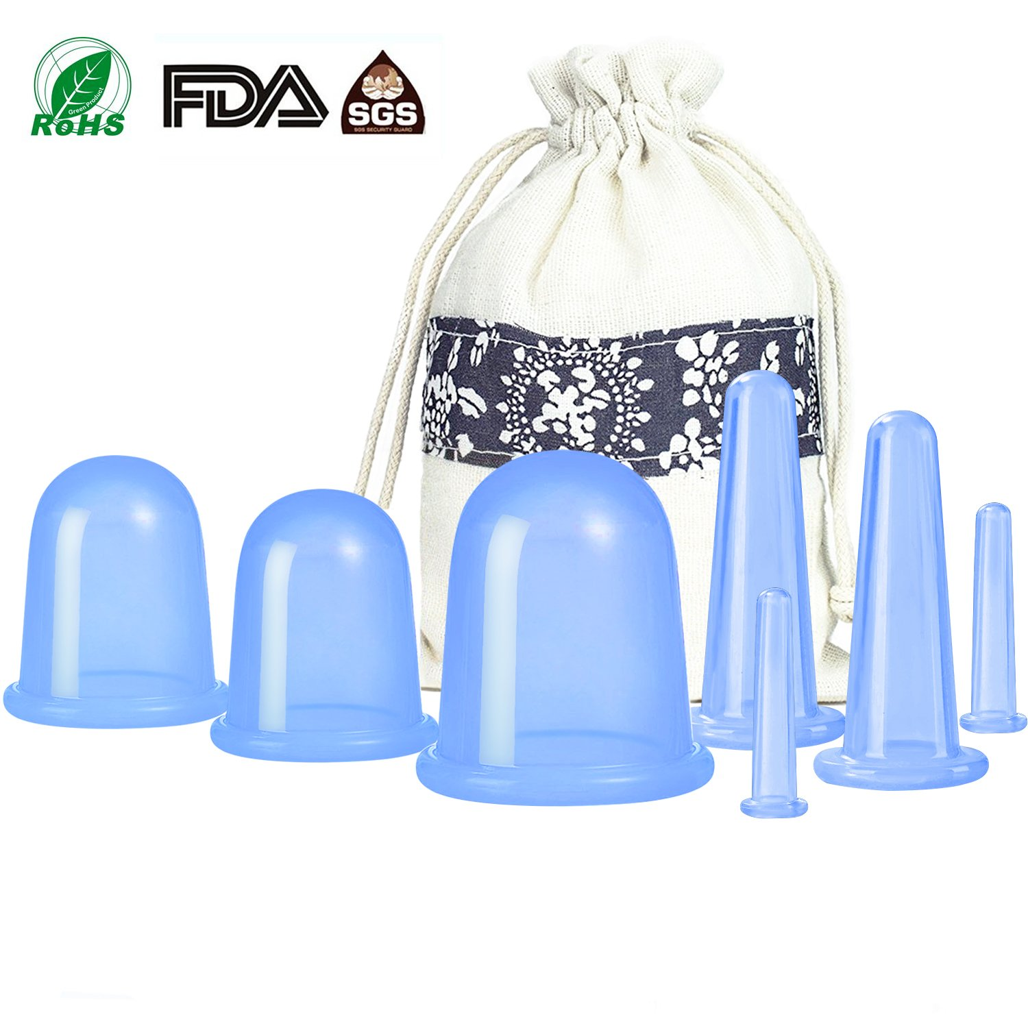 500-miles Anti Cellulite Cupping Therapy Set of 7 Silicone Vacuum Suticon Cups - Chinese Cupping Kit for Cellulite Body and Facial Massage, Cupping Cup for Adults Home Use