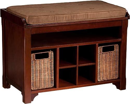 Flynn Storage Bench w Rattan Baskets – Expresso Caramel Finish – Shoe Cubbies