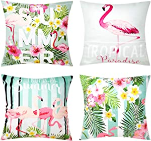 Outdoor Flamingo Decor Pillow Covers Tropical Floral Couch Throw Pillows Decorative Flowers Leaves Summer Velvet Quote Cushions Home Decor 18x18 Set of 4 for Patio Furniture Sofa Bedding