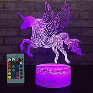 JMLLYCO Unicorn Gifts Unicorn Toys Kids Night Light 16 Colors Change with Remote Control Optical Illusion Bedside Lamps As a Gift Ideas for Boys and Girls Birthday Gifts