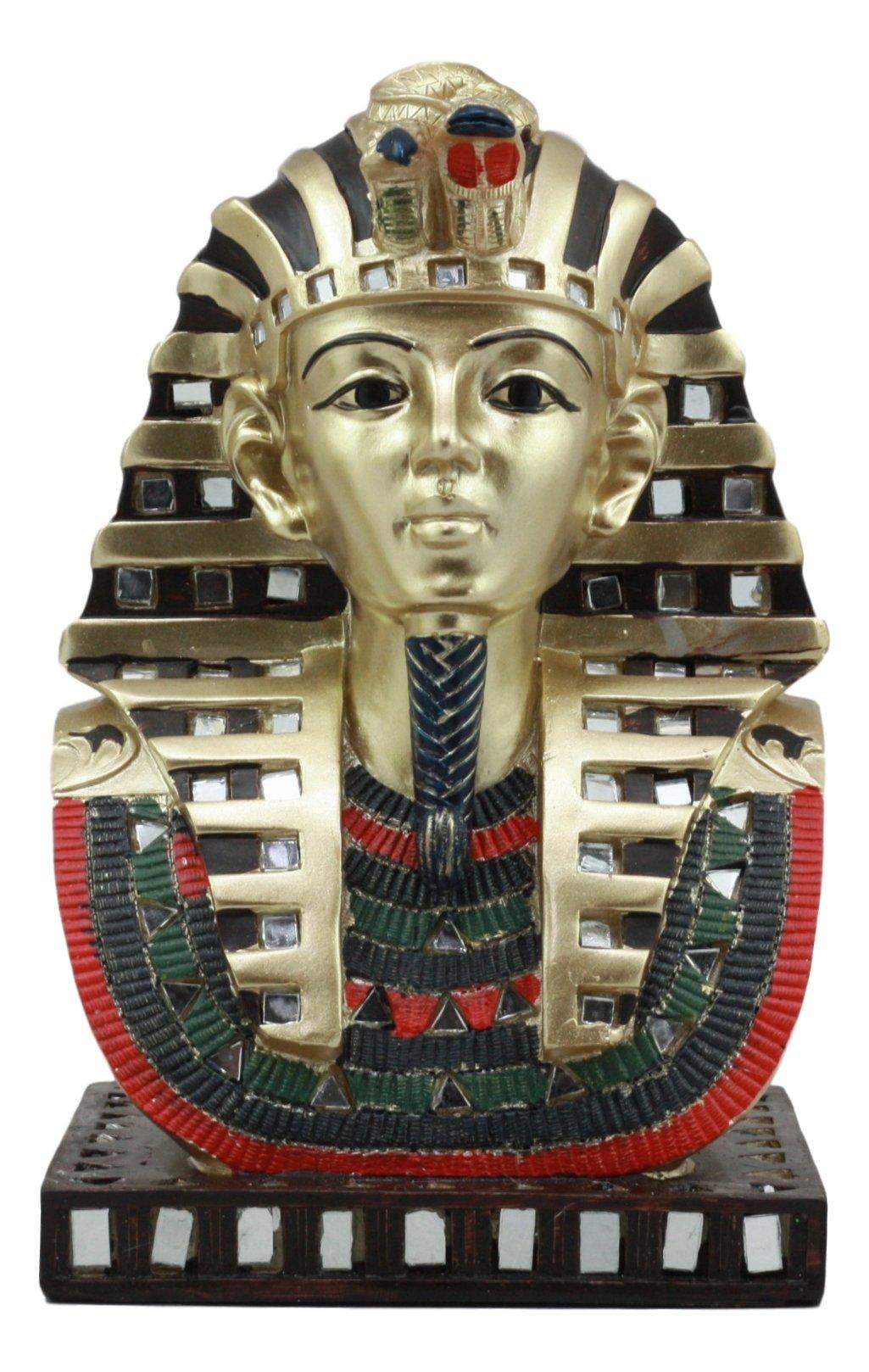Ebros Ancient Egyptian Pharaoh Mask Of King Tut Statue Golden Tutankhamun Bust Figurine by Ebros Gift