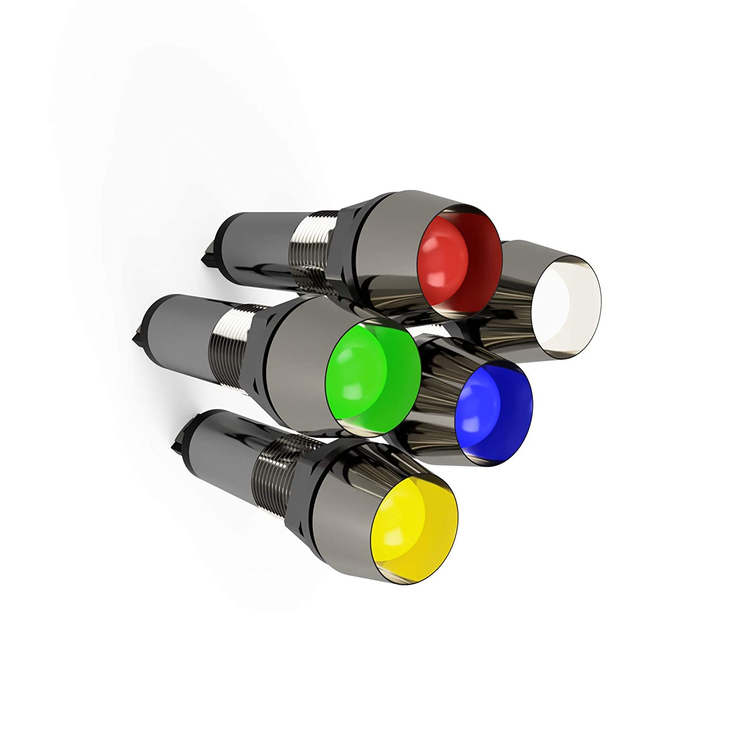 Green 5 Pack Red Amber and White 12V 8mm 5//16 LED Metal Signal Indicator Directional Pilot Dash Light Blue
