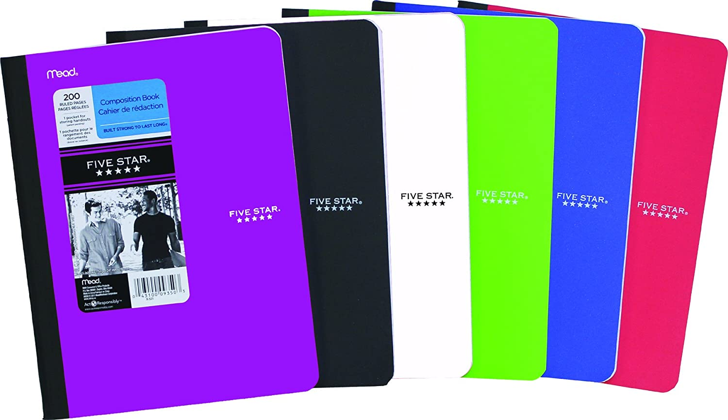 Five Star Poly Wireless Notebook, 1-Subject, 9-3/4 X 7-1/2-Inch, 100 Sheets, Assorted Colors (9350) 09350