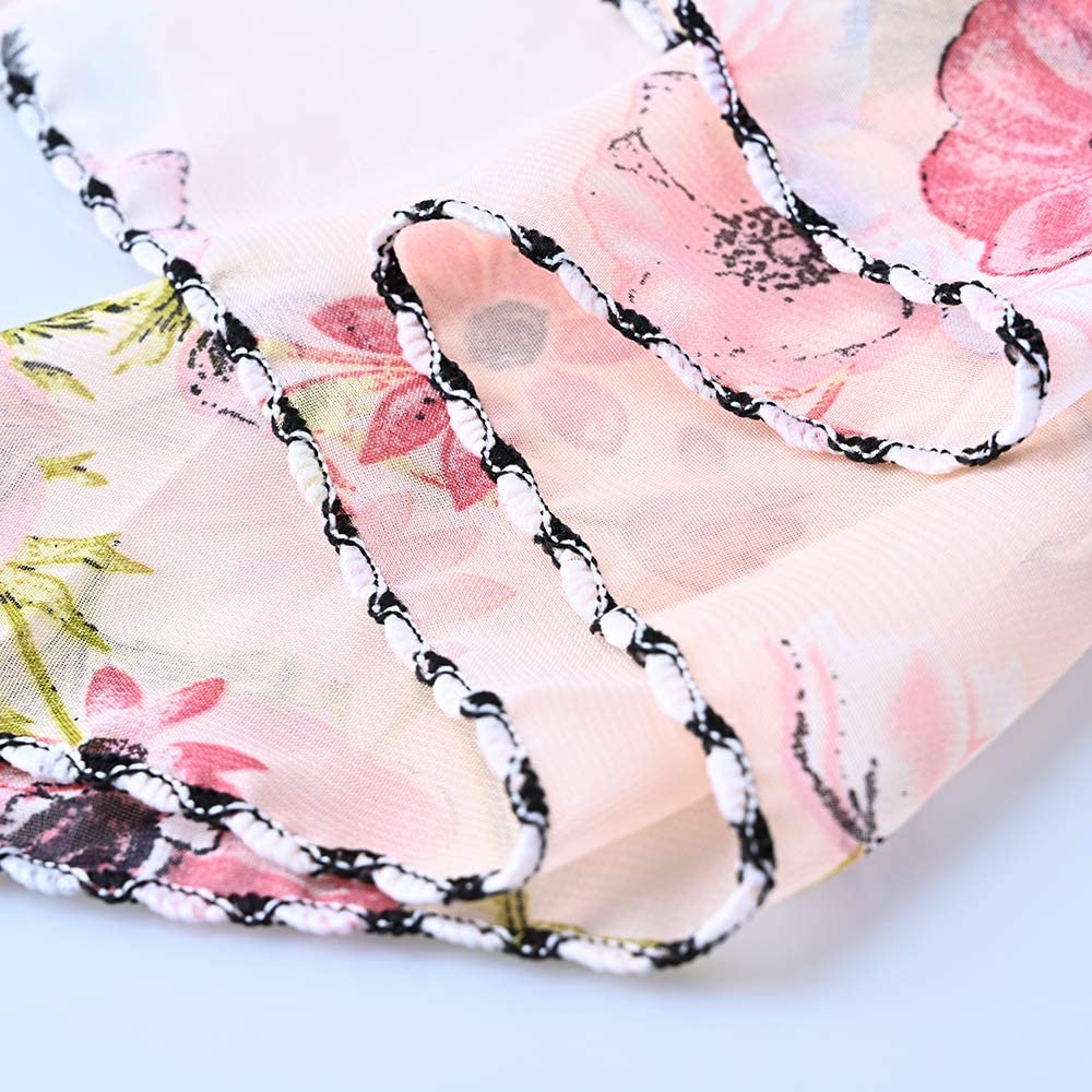 9 Packs Chiffon Face Covering Sun Protection Silk Scarf Printing Anti-dust Outdoor Neck Mouth Cover for Women Girls Women Silk Neck Scarf Neck