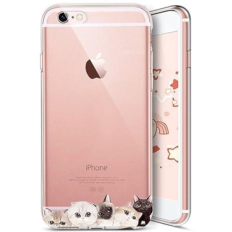 Funda iPhone 5S, Carcasa iPhone 5, JAWSEU Apple iPhone 5/5S/SE Carcasa Caso Cover Gato lindo Creativa Diseño Ultra Delgado Transparente Suave TPU ...