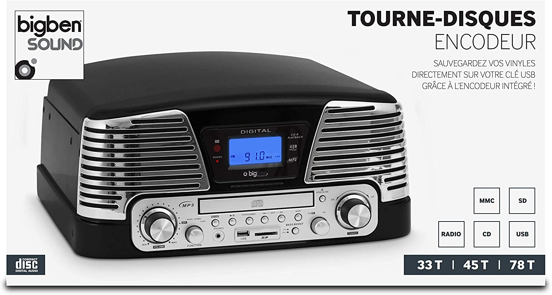 BigBen TD79NM - Tocadiscos (pantalla LCD, 230 V, 50 Hz, USB, 3.5 ...