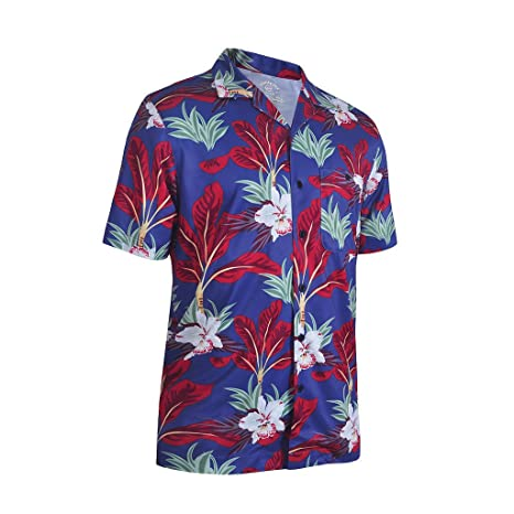 775cce35c7 Amazon.com: Monterey Club Men's Dry Swing Palm Tree Print Camp Shirt ...