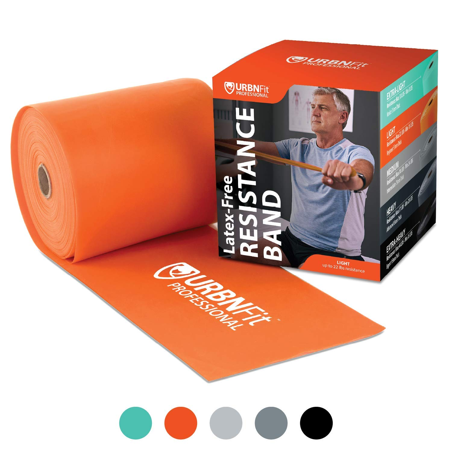 Professional Resistance Bands - 25 Yards (75ft) Latex-Free Elastic Exercise Fitness Band Roll - No Scent, No Powder - Perfect for Physical Therapy & Rehab, Yoga, Pilates (Orange - Medium 55mm)