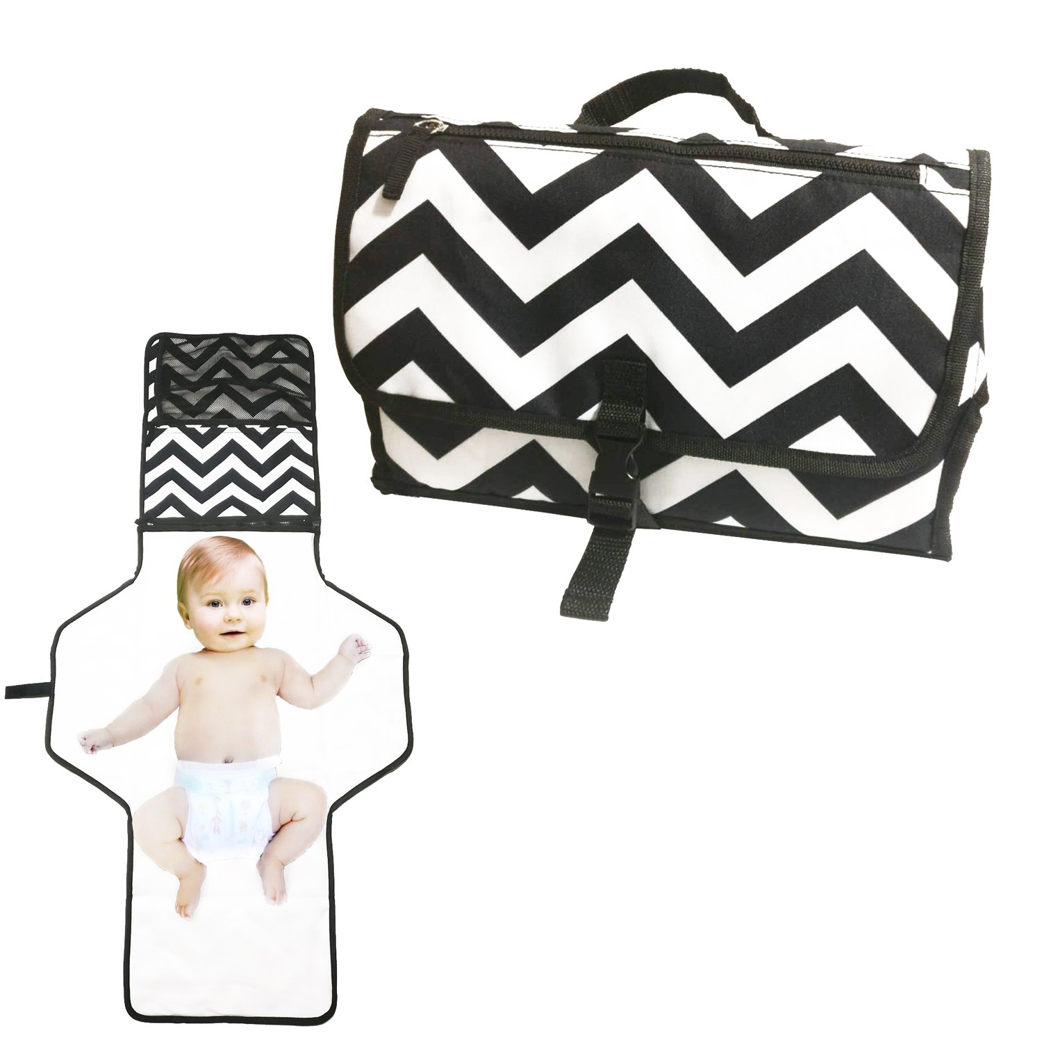 Diaper Clutch with Extra Long Diaper Changing Pad for Baby Newborn Infant,Diaper Bag Foldable Mat & Built-in Head Cushion Extra Long Portable Changing Station for Travel and Home EEZSEVEN
