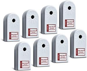 ZirconLeakAlertWaterLeakDetector & Flood Sensor Alarm / WaterLeakSensor with DualLeakAlarms 90dB Audio / Battery Powered (Contractor 8 Pack) Batteries Included