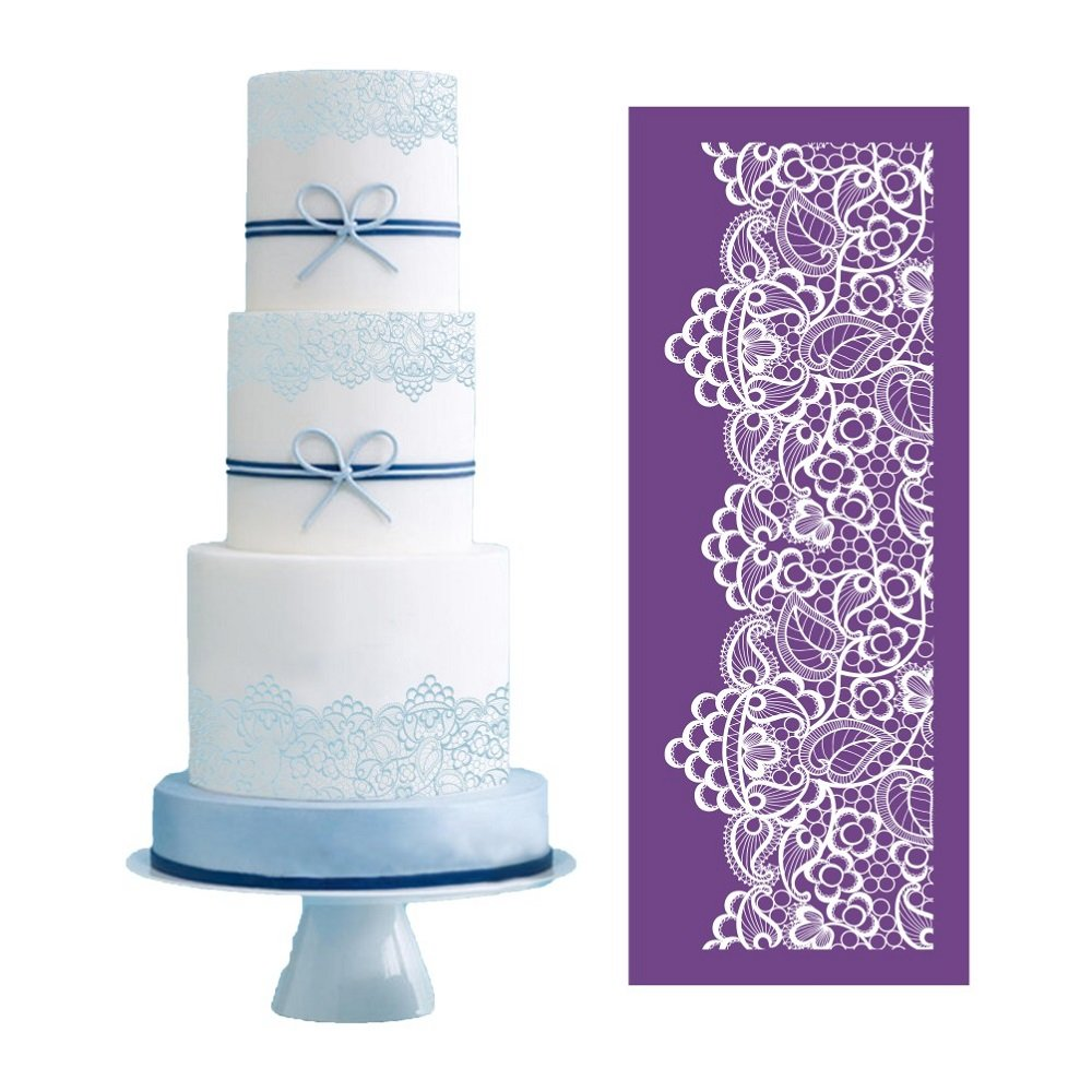 ART Kitchenware 19.3''×7.5'' Large Alencon Lace Floral Mesh Stencil Rose Flower Cake Stencil Wedding Cake Side Stencils Template Mold Cake Decorating Bakery Tool MST-05 Purple Color