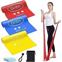 Gritin weerstandsbanden, [set van 3] 1,5M huidvriendelijke fitnessbanden, set met 3 weerstandsniveaus, deurgesp, kleine…