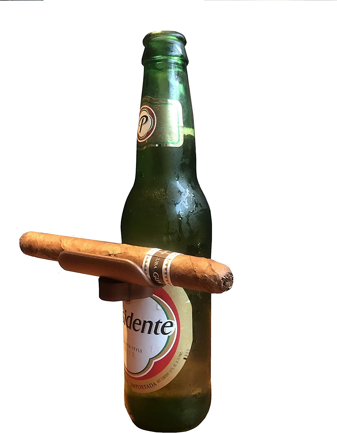 CigarzUp Cigar Holder. Bronze. The Clip On Cigar Accessory Snaps to Almost Any Bottle, Can or Glass to Keep Your Cigar in Place