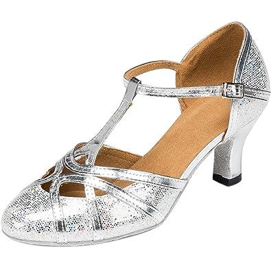 936eba371bb5f wealsex Chaussures de Danse Salon Latine Ethniques Jazz Cha-cha-chá Bout  Fermé Talons