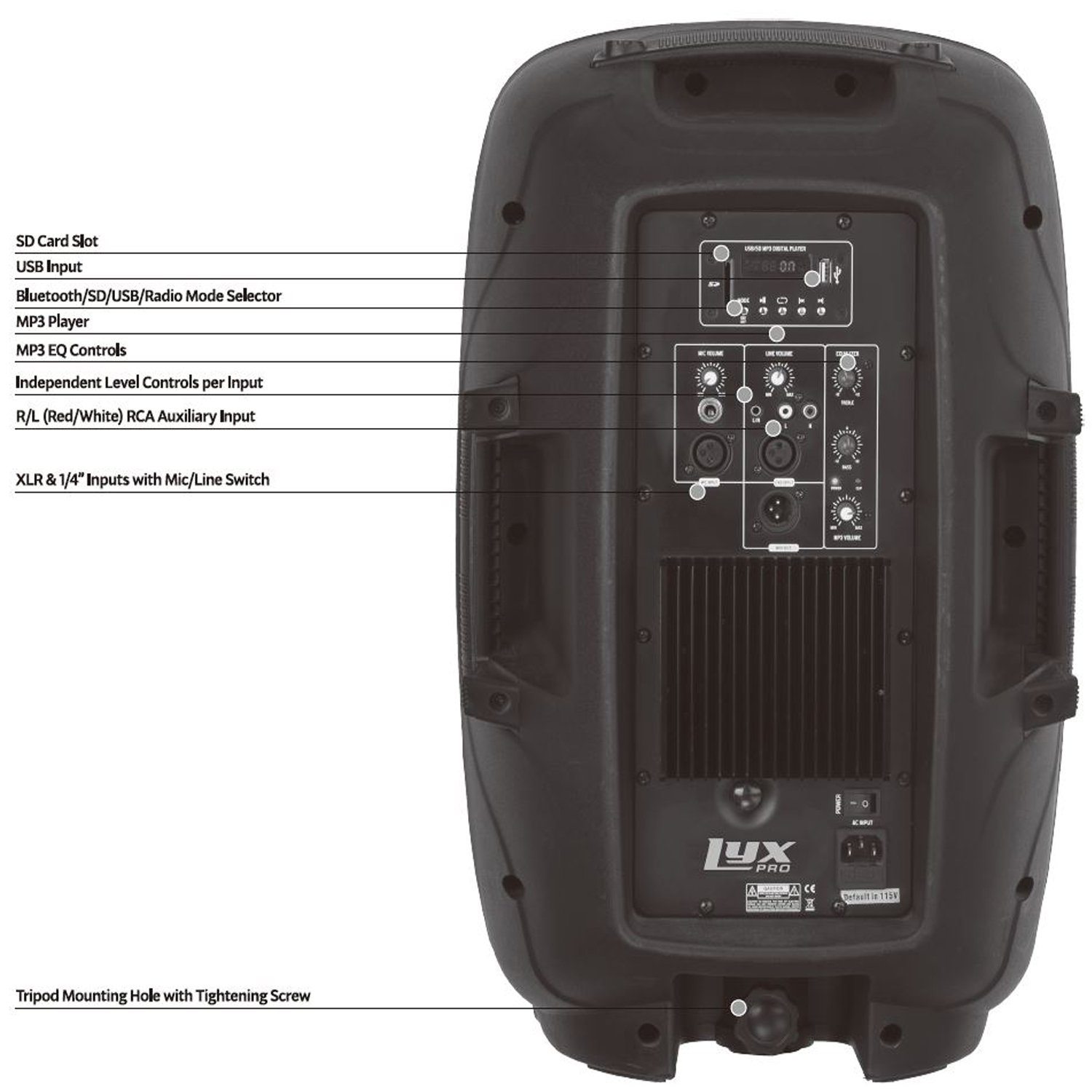 LyxPro SPA-12 - 12'' Compact Portable PA System 130-Watt RMS Power Active Speaker with Equalizer, Bluetooth, SD Slot, USB, MP3, XLR, 1/4'', 3.5mm Input by LyxPro (Image #3)