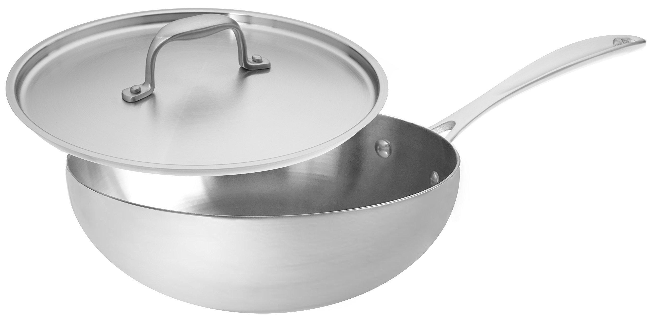 American Kitchen Cookware Premium Stainless Steel Saucier, 3 Quarts