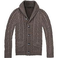 Cardigan en tricot /à col rond avec fermeture /éclair et poches avant pour homme