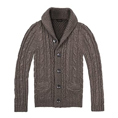 cddbccacd9 BOTVELA Men's Shawl Collar Cardigan Sweater Button Front Solid Knitwear (S,  Coffee)