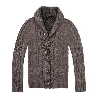 e83d5ebe8c1f BOTVELA Men s Shawl Collar Cardigan Sweater Button Front Solid ...
