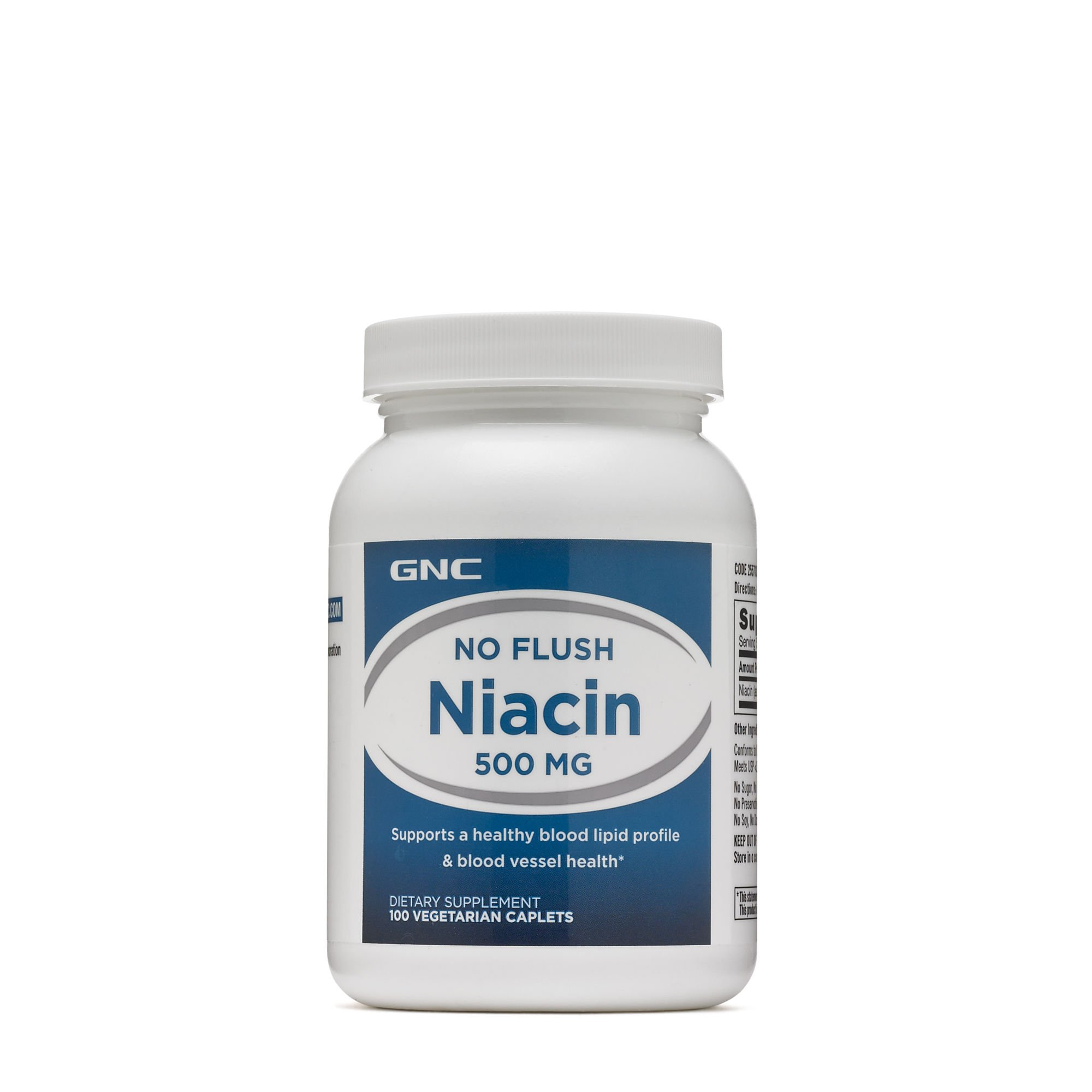 GNC No Flush Niacin 500mg, 100 Caplets, Supports Blood Vessel Health