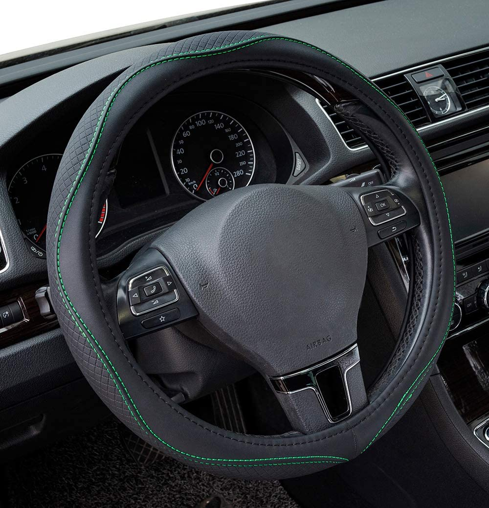 PVC Leather White Anti-Slip PIC AUTO Steering Wheel Covers Suvs Breathable Universal 15 inch for Cars Sedans Trucks