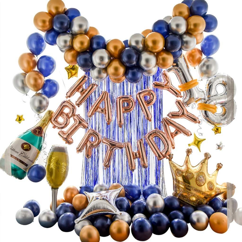 Decorazione della Festa di Compleanno, Decorazione del Partito Adulto del Palloncini del Lattice di Tema Blu Romantico (colore   B)